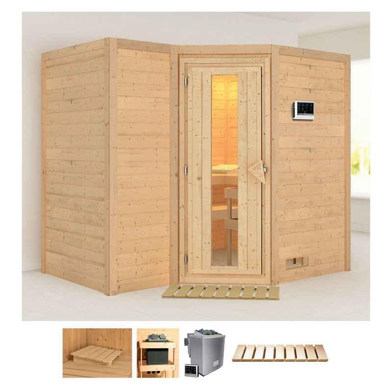 Karibu Sauna »Sanna 2«, BxTxH: 236 x 184 x 209 cm, 40 mm, (Set) 9-kW-Bio-Ofen mit externer Steuerung