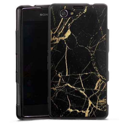 DeinDesign Handyhülle »BlackGoldMarble Look« Sony Xperia Z1 Compact, Hülle Marmor schwarz Muster