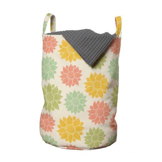 Abakuhaus Wäschesack »Wäschekorb mit Griffen Kordelzugverschluss für Waschsalons«, Blumen Bunte Sonnenblumen Ornament
