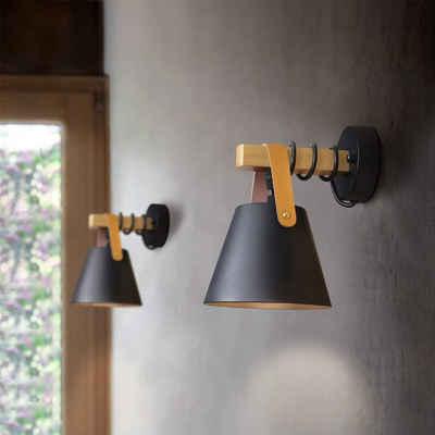 ZMH Wandleuchte »Schwarz Vintage Wandlampe Holz E27 Industrie Innenbeleuchtung für Schlafzimmer Küche Esszimmer«
