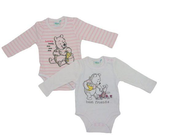 Disney Baby Langarmbody 2er Set Mädchen Body Winnie Pooh Langarm Mädchen Strampler Baumwolle