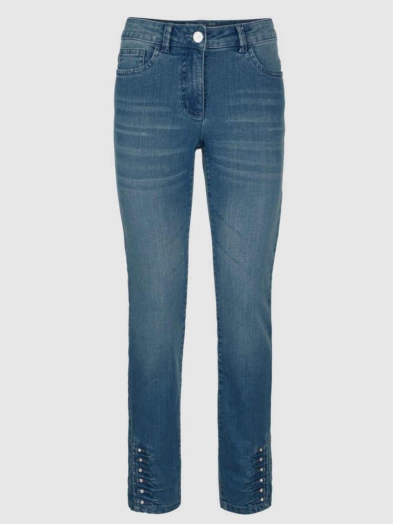 Laura Kent Slim-fit-Jeans mit Ziersteinen am Saum