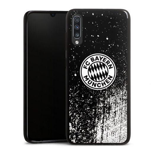 DeinDesign Handyhülle »Splatter Schwarz - FCB« Samsung Galaxy A70, Hülle FCB Offizielles Lizenzprodukt FC Bayern München