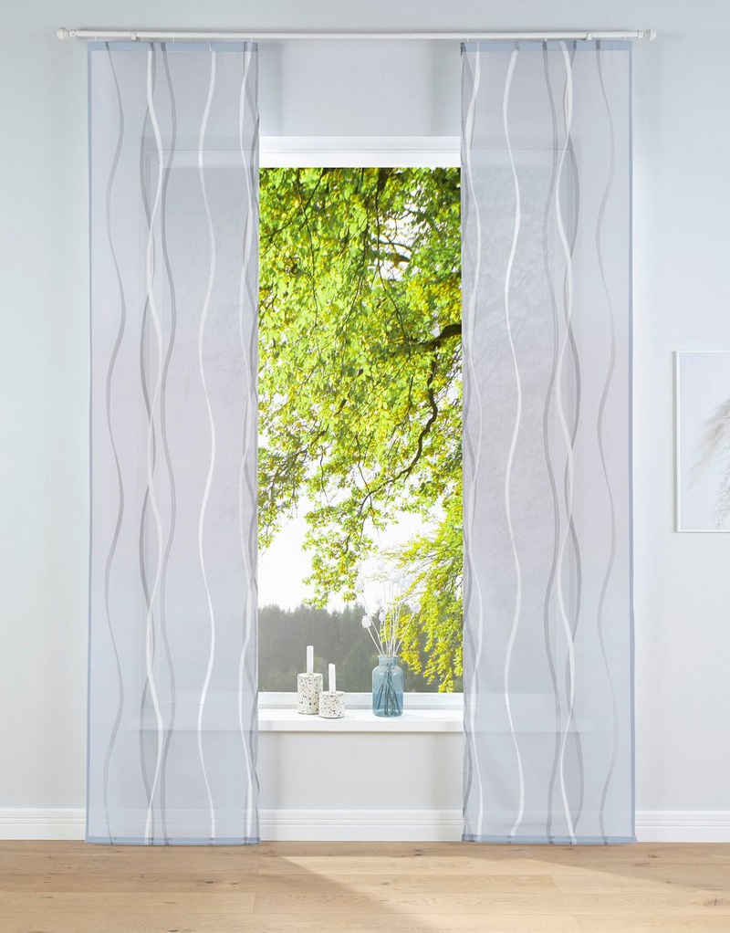 Schiebegardine »Dimona«, my home, Klettschiene (2 Stück), Fertiggardine, inkl. Befestigungszubehör, transparent