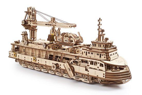 UGEARS 3D-Puzzle »UGEARS Holz 3D-Puzzle Modellbausatz FORSCHUNGSSCHIFF«, 575 Puzzleteile