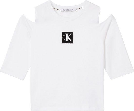Calvin Klein Jeans T-Shirt »COLD SHOULDERS BOX LOGO TEE« mit Cut-outs an den Schultern & Calvin Klein Logo-Schriftzug
