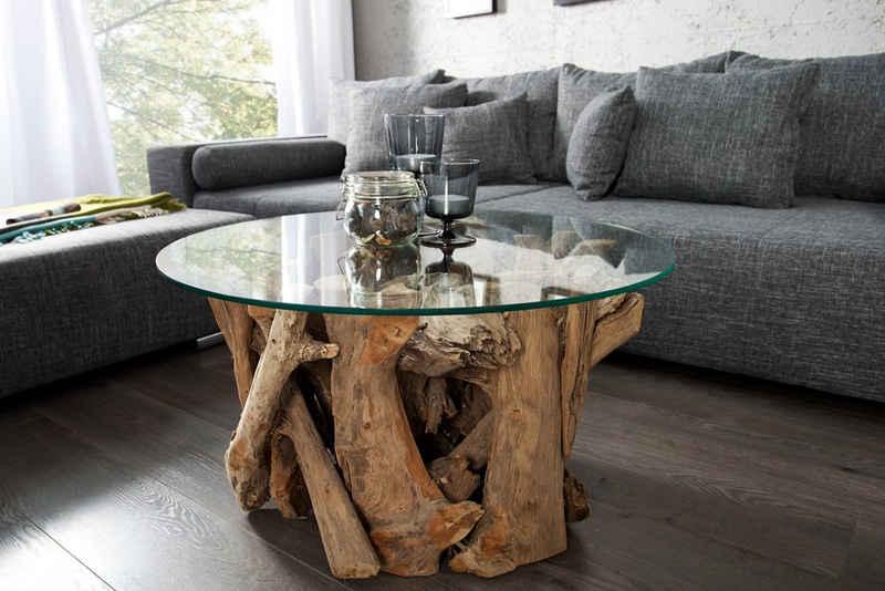 riess-ambiente Couchtisch »NATURE LOUNGE 60cm natur / transparent«, Wohnzimmer · Massivholz · Glasplatte · rund · Handarbeit