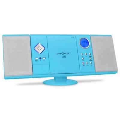 ONECONCEPT »V-12 Stereoanlage USB SD CD MP3 AUX UKW Fernbedienung blau« Kompaktanlage (UKW/MW-Radioreceiver, 0 W)