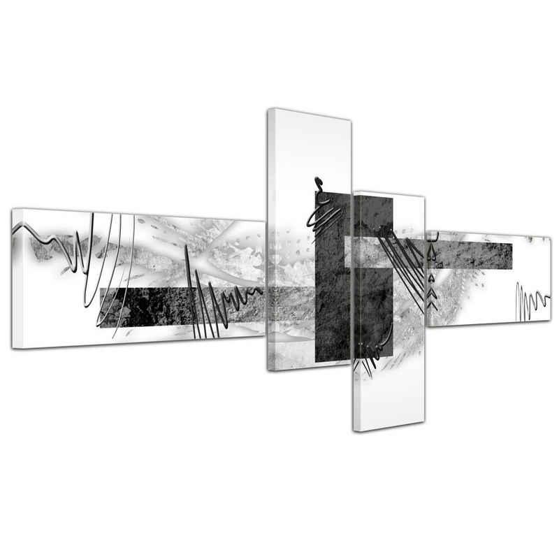 Bilderdepot24 Leinwandbild »Abstrakte Kunst Abstrakt V - 200x90cm 4 teilig«, Abstrakt