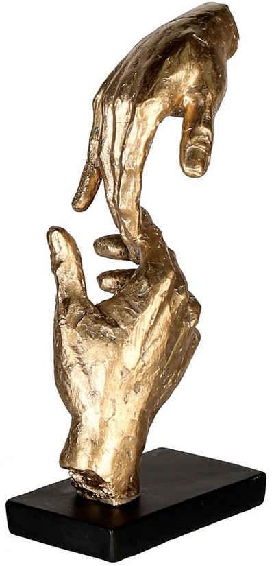 Casablanca by Gilde Dekofigur »Skulptur Two Hands, goldfarben/schwarz« (1 Stück), Dekoobjekt, Höhe 29, Hände, mit Spruchanhänger, Wohnzimmer