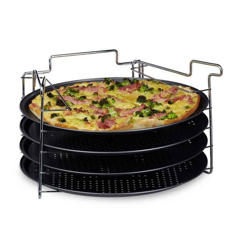 relaxdays Pizzablech »Pizzablech 4er Set mit Ständer«, Eisen