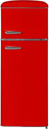 exquisit Kühl-/Gefrierkombination RKGC270-45-H-160E rot, 143 cm hoch, 55 cm breit