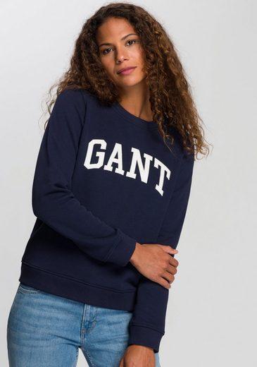 Gant Sweatshirt mit kontrastfarbenem Logo auf der Brust