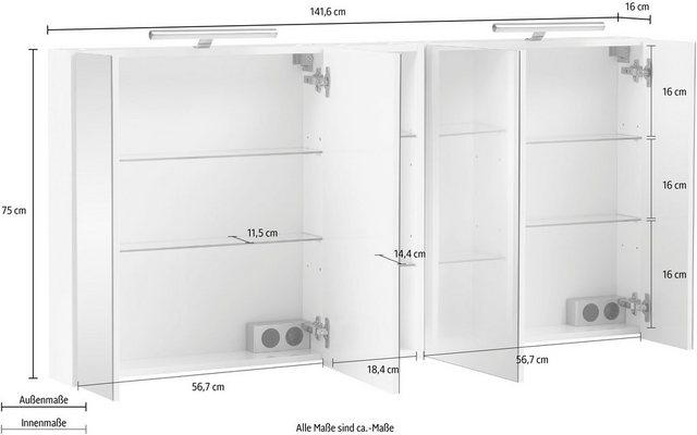 Spiegel - Schildmeyer Spiegelschrank »Basic« Breite 141,6 cm, 4 türig, 2x LED Beleuchtung, Schalter Steckdosenbox, Glaseinlegeböden, Soft Close, Made in Germany  - Onlineshop OTTO