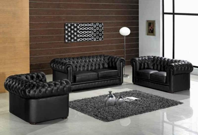 JVmoebel Chesterfield-Sofa, Chesterfield 3+2+1 Sitzer Garnitur Sofa Couch