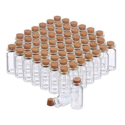 relaxdays Aufbewahrungsbox »Mini Glasfläschchen mit Korken 60er Set«, Glas