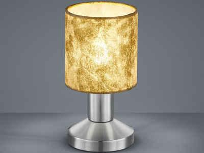 meineWunschleuchte LED Tischleuchte, Klein, Lampenschirme Stoff Gold, mit Berührungs-Schalter, Lampe Fensterbank, Nachttisch-Lampe mit Touch-Schalter, Stecker