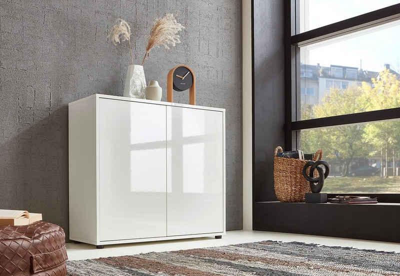 BMG Möbel Schuhkommode »Mailand 4« (Kommode Anrichte Aktenschrank), mit weiß lackierten Hochglanzfronten und hochwertigen push-to-open Beschlägen