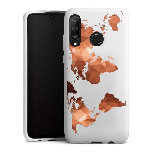 DeinDesign Handyhülle »Worldmap Triangle ohne Hintergrund« Huawei P30 Lite Premium, Hülle Weltkarte Landkarte Bronze