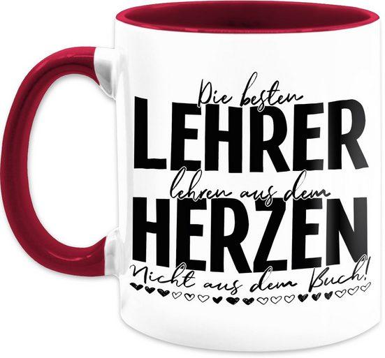 Shirtracer Tasse »Die besten Lehrer lehren aus dem Herzen - Nicht aus dem Buch - Schwarz - Kaffeetasse Job Geschenk - Tasse zweifarbig«, Keramik, Beruf Teetasse