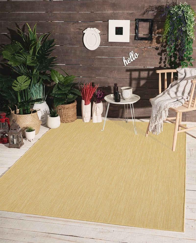 Teppich »Mistra In- & Outdoor Teppich Flachgewebe, Modernes Design, Trendige Farben, Superflach, UV- und Witterungsbeständig, Gelb, 60 x 110 cm«, the carpet, Rechteck