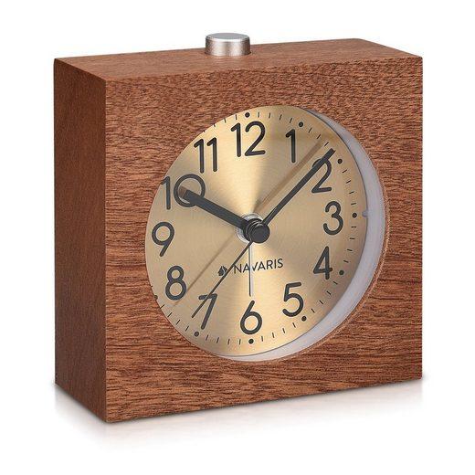 Navaris Wecker Analog Holz Wecker mit Snooze - Retro Uhr Quadrat mit Ziffernblatt in Gold Alarm Licht - Leise Tischuhr ohne Ticken - Naturholz