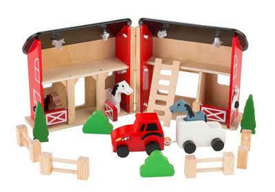 Coemo Puppenhaus, (möbliertes Puppenhaus Holz, 15-tlg), Pferdestall zum Aufklappen
