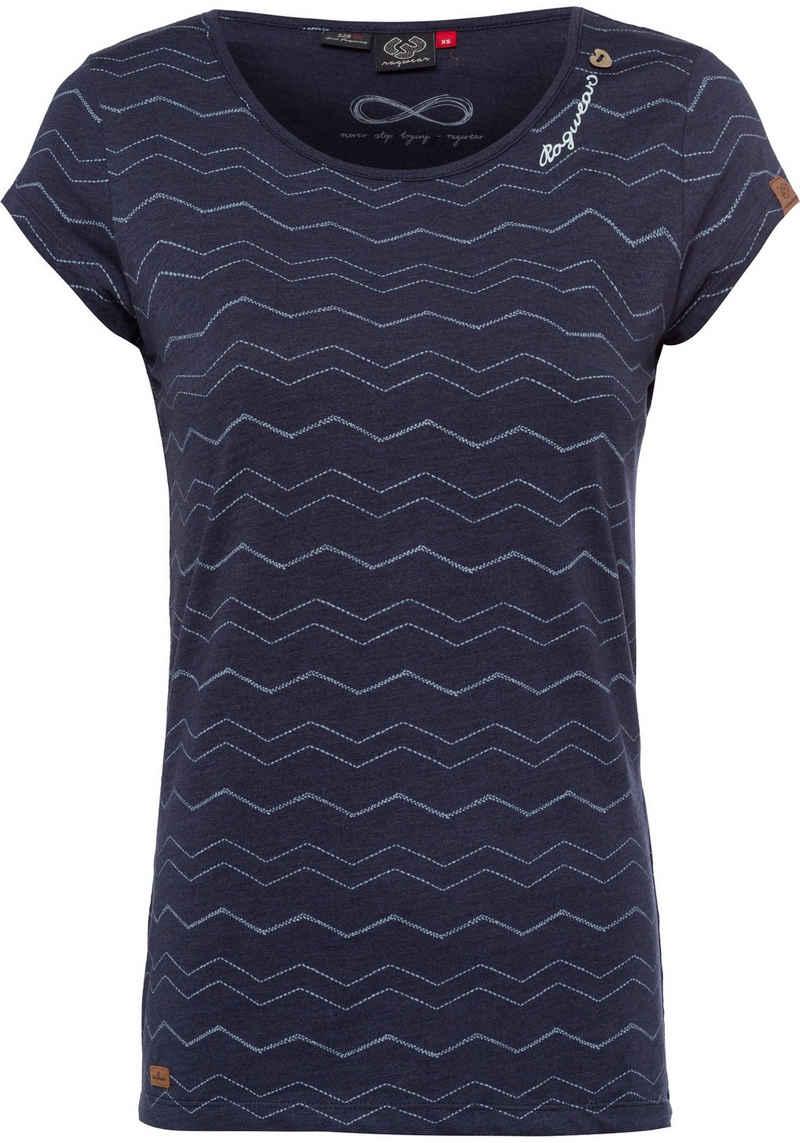 Ragwear T-Shirt »MINT CHEVRON« mit effektvollem Zig Zag.-Allover-Druck