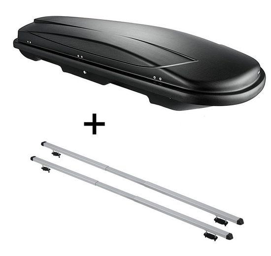 VDP Fahrradträger, Dachbox VDPJUXT500 500Ltr abschließbar schwarz + Dachträger RAPID kompatibel mit Ssangyong Rodius (5Türer) 04-13