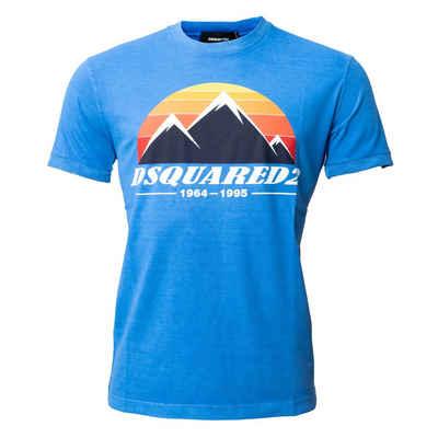 Dsquared2 T-Shirt Blau mit mehrfarbigem Aufdruck