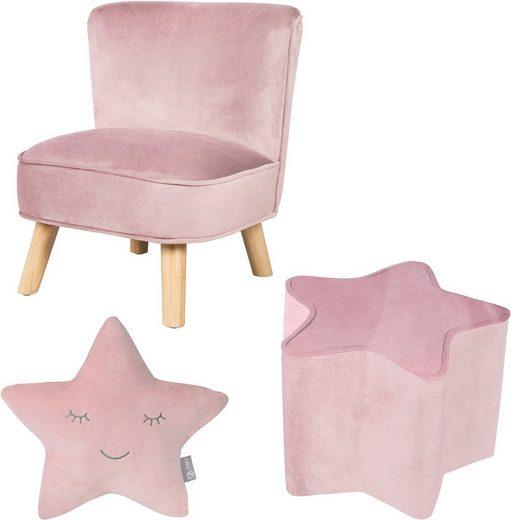 roba® Kindersitzgruppe »Lil Sofa«, (Set, 3-tlg), bestehend aus Kindersessel, Kinderhocker und Dekokissen in Sternform