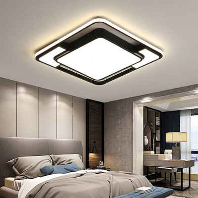 style home LED Deckenleuchte, Deckenlampe 45W, voll dimmbar mit Fernbedienung, Leuchte für Wohnzimmer, Schlafzimmer Esszimmer Küche Büro, Rechteckig 42 * 42 * 6 cm (Schwarz)