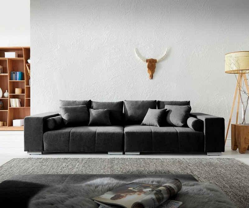 DELIFE Big-Sofa »Marbeya«, Schwarz 285x115 cm mit 10 Kissen Big Sofa