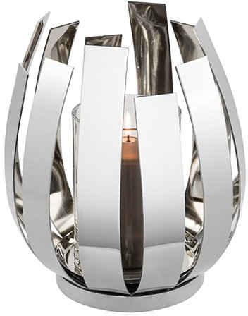 Fink Windlicht »ORFEA« (1 Stück), aus Edelstahl inkl. Glaszylinder, verspielt und gradlinig