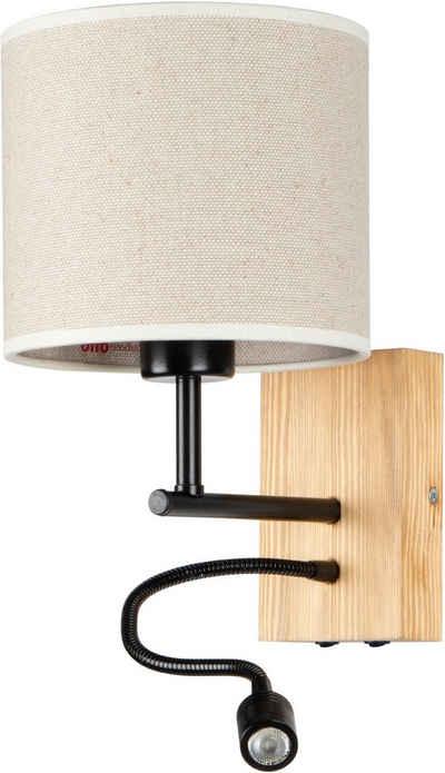 OTTO products Wandleuchte »Emmo«, Separate Lichtquellen, Flexarm mit LED Leseleuchte, Naturprodukt mit FSC®-Zertifikat, Hochwertiger Lampenschirm, Made in Europe