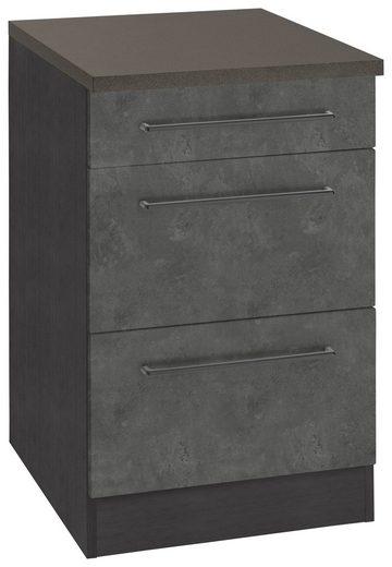 HELD MÖBEL Unterschrank »Tulsa« 50 cm breit, 1 Schubkasten, 2 große Auszüge, schwarzer Metallgriff, hochwertige MDF Front