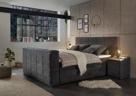 Boxspringbett »Denver« (7-tlg), inkl. zwei Bettkästen, Topper und motorisierter TV-Halterung bis 40 Zoll