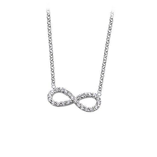 LOTUS SILVER Silberkette »JLP1253-1-1 LOTUS Silver Unendlich Halskette weiß« (Halsketten), Damen Kette Unendlich aus 925 Sterling Silber, weiß, silber