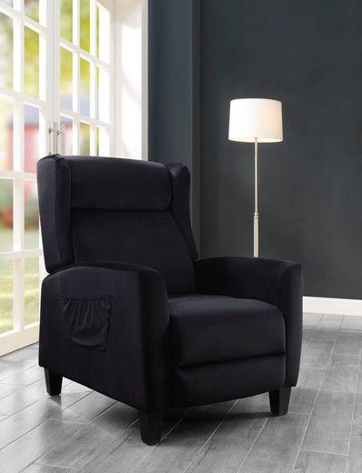 ATLANTIC home collection TV-Sessel »Timo«, klassischer Ohrensessel mit moderner Relaxfunktion und praktischer Seitentasche