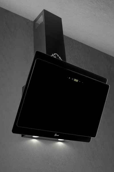 GURARI Kopffreihaube GCH 411 60 BL PRIME/11, Premium Line Dunstabzugshaube 60 cm, Schwarz Glas,1000m³/h, 4 Stufen,Display, Randabsaugung,Timer, Fernbedienung, Wandhaube,Ablufthaube,Umlufthaube