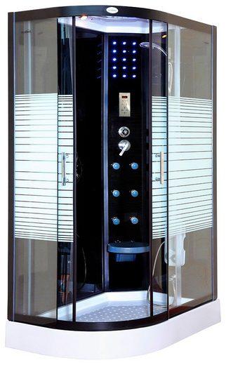 Komplettdusche »Black Pearl L«, BxT: 120x80 cm, mit Tropenbrause, Beleuchtung und Radio