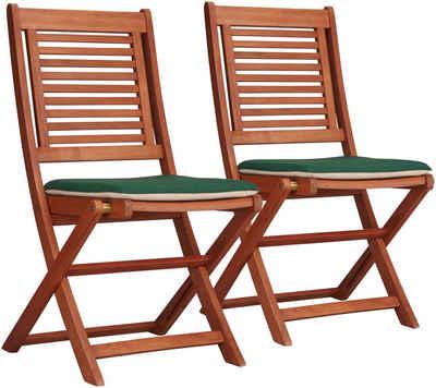 Merxx Gartenstuhl Cordoba 2er Set Eukalyptus Klappbar Braun Inkl Wendeauflage