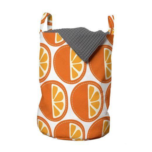 Abakuhaus Wäschesack »Wäschekorb mit Griffen Kordelzugverschluss für Waschsalons«, Obst Cartoon orange Muster-Kunst