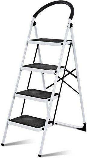 COSTWAY Trittleiter »Stehleiter, Haushaltsleiter, Stufenstehleiter«, 4-Stufen-Trittleiter, klappbar, platzsparend, 150 kg Tragkraft, Metall, weiß