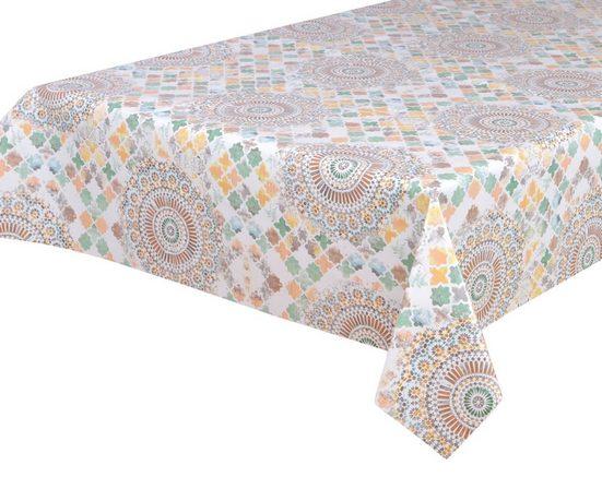 Beautex Tischdecke »Wachstuchtischdecke, Ornamente bunt, abwischbar Wachstuch Garten Tischdecke ECKIG RUND OVAL, Größe wählbar« (1-tlg)