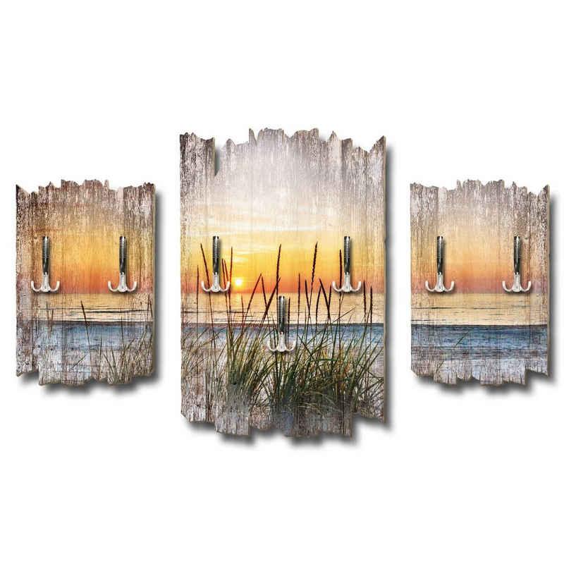 Kreative Feder Wandgarderobe »Strand« (3 Stück), Dreiteilige Wandgarderobe, Holz, Wandbild, Wanddeko, Baum, Natur, Landschaft, DTGH121