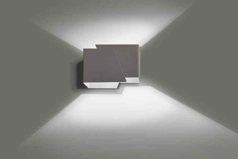 Licht-Erlebnisse Wandleuchte »BLOX«, Up & Down Lampe Wand Grau Metall modern Flur Treppenhaus Lampe