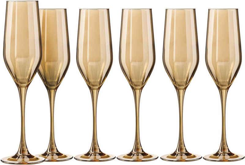 my home Sektglas »Naila«, Glas, Gold, mit hochwertiger, goldfarbener Optik, 160 ml, 6-teilig