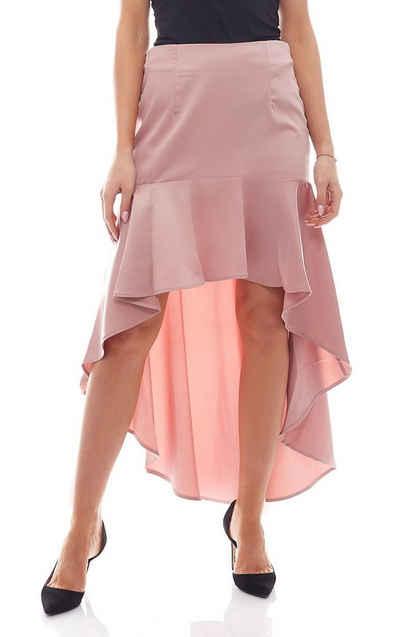 NA-KD Sommerrock »NA-KD Fashion x Qontrast Mini-Rock im Vokuhila-Style asymmetrischer Damen Rüschen-Rock Freizeit Rosa«