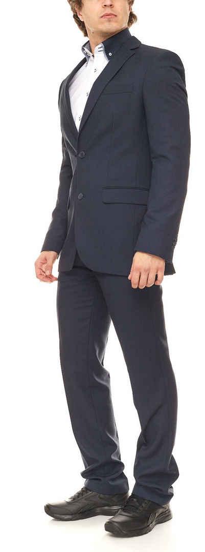 Class International Anzug »CLASS INTERNATIONAL Business-Anzug eleganter Anzug für Herren mit Brustleistentasche schlanke Größen Hochzeits-Anzug Blau«